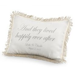 They Lived Happily Ever After Pillow with Silver Print
