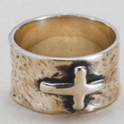 Hammered Cross Ring