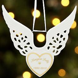 Personalized Angel Wing Heart Memorial Ornament
