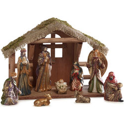 Glittered 10-Piece Nativity Set