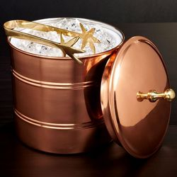 Banded Copper Ice Bucket with Tongs