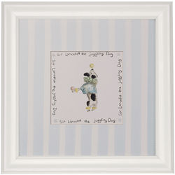Baby's Pastel Juggling Dog Framed Print