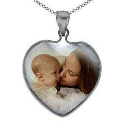 Custom Photo White Gold Mother of Pearl Heart Pendant