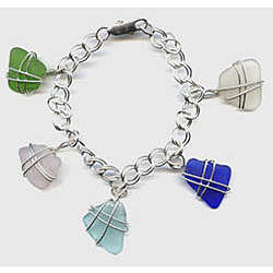 Sterling SeaGlass Charm Bracelet