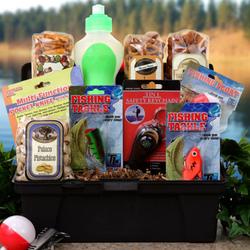 Gone fishing tackle box gift basket for Fishing gift box