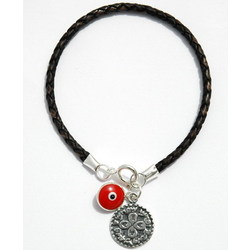 Sterling Silver Love Charm on Leather Bracelet