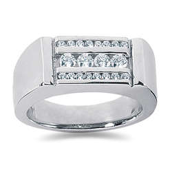 0.56 ctw Men's Diamond Ring in 14K White Gold