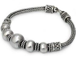 Thai Moons Sterling Silver Braided Bracelet