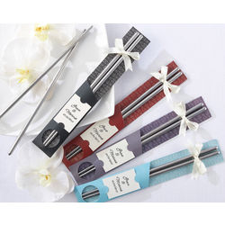 """East Meets West"" Stainless-Steel Chopsticks Wedding Favors"