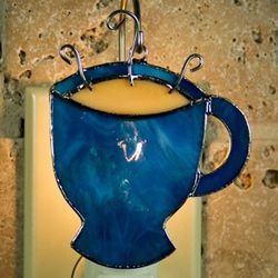 Coffee Cup Stained Glass Ornament