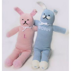 "12"" Personalized Cotton Knit Bunny"