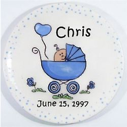 Hand Painted Baby Buggy Ceramic Plate