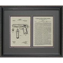 Colt 45 Military M9 Pistol Patent Art Framed Print