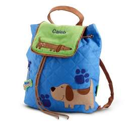 Quilted Blue Puppy Backpack