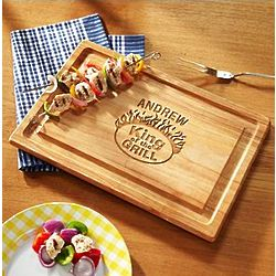 Personalized King of the Grill Wood Cutting Board
