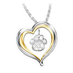 Best Friends Forever Crystal Paw Print Pendant Necklace