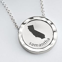 Sterling Silver Graphic State Necklace