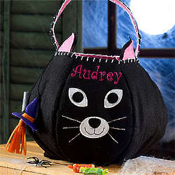 Personalized Halloween Black Cat Trick or Treat Bag