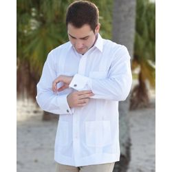Deluxe French Cuffed Fitted White Guayabera Shirt