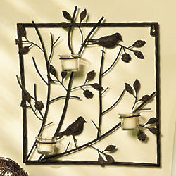Bird Wall Decor with Votive Holders