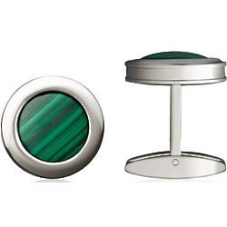 Stainless Steel and Green Malachite Colibri Stanford Cufflinks