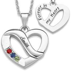 Family Name and 3 Birthstone Heart Pendant