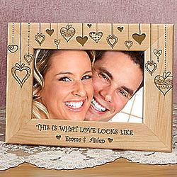 Personalized Rain of Hearts Wooden Picture Frame