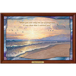 Footprints in the Sand Illuminated Stained Glass Wall Decor