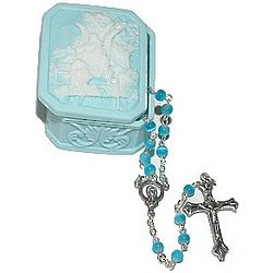 Blue Cats Eye Baby Rosary with Guardian Angel Box