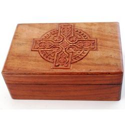 Wood Trinket Box with Celtic Cross Design