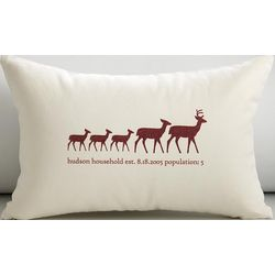 Personalized Reindeer Family Pillow Cover and Insert