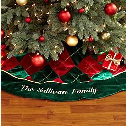 Personalized Velvet Argyle Tree Skirt
