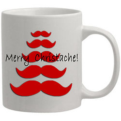 Personalized Red Mustache Tree Christmas Coffee Mug