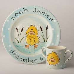 Baby's Personalized Yellow Duck Plate