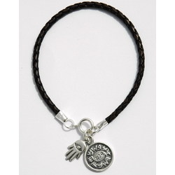 Sterling Silver Protection Charm on Leather Bracelet