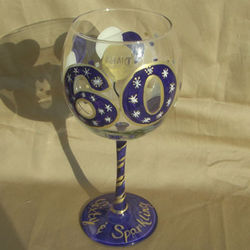 60 and Sparkling Hand Painted Wine Glass