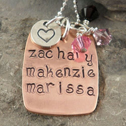 Mother's Copper Rectangle Personalized Hand Stamped Necklace