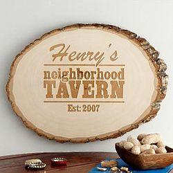 Personalized Neighborhood Tavern Wood Sign