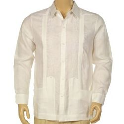 Destination Wedding Two Pockets Guayabera Shirt Long Sleeve