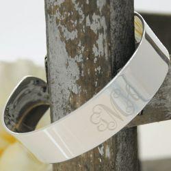 Engraved Monogram Silver Cuff Bracelet