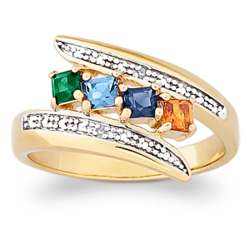 Mother's Square Family Birthstone Ring with Diamonds