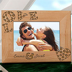 Hibiscus Flowers Love Personalized Wooden Frame