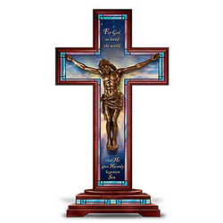 Behold Our Lord and Savior Cross Cold-Cast Bronze Sculpture