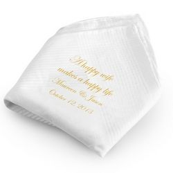 Happy Wife Happy Life Handkerchief with Gold Print