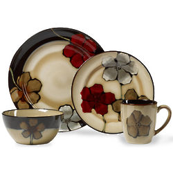 16 Piece Painted Poppies Stoneware Dinnerware Set