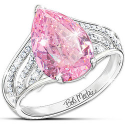 Bob Mackie Diamonesk Simulated Pink and White Diamond Ring