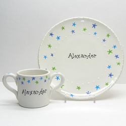 Baby's Personalized Plate and Cup with Stars Design