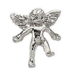 14 Karat White Gold Angel Lapel Pin