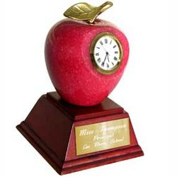 Personalized Marble Red Apple Clock & Paperweight