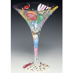Celebrate Hand-Painted Martini Glass
